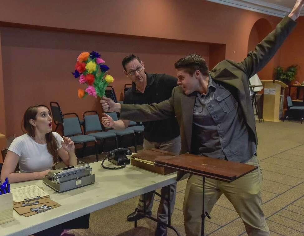 Jennifer Panara as the Secretary rehearses a scene from