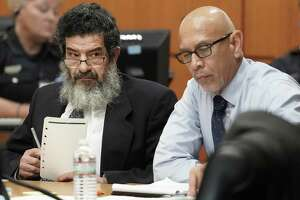 Ali Mahwood-Awad Irsan, left, is shown in court with his defense attorney Rudy Duarte, right, Monday, June 25, 2018. Irsan was charged with capital murder because his alleged crime involved multiple victims — his daughter's best friend, Gelareh Bagherzadeh, an Iranian medical student and activist, and his daughter's husband, Coty Beavers, 28. Both slayings, authorities said, were driven by the anger of Irsan, a conservative Muslim, over his daughter Nesreen's decision to marry Beavers, a Christian from Houston. ( Melissa Phillip / Houston Chronicle )