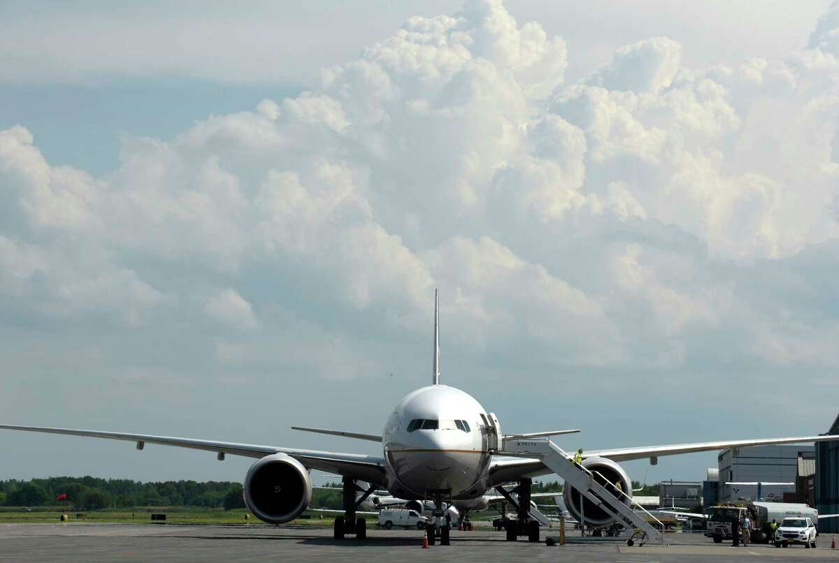 A Boeing 777, from Frankfurt, Germany is seen at the Albany International Airport on Tuesday, July 3, 2018, in Albany, N.Y. The aircraft which was heading to New York City was detoured to Albany because of storms in the city. (Paul Buckowski/Times Union)