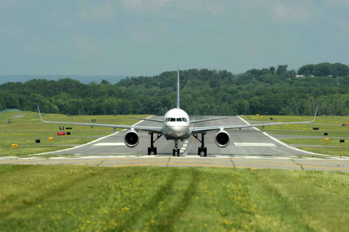A Boeing 757 from Shannon, Ireland is seen at the Albany International Airport on Tuesday, July 3, 2018, in Albany, N.Y. The aircraft which was heading to New York City was detoured to Albany because of storms in the city. (Paul Buckowski/Times Union)