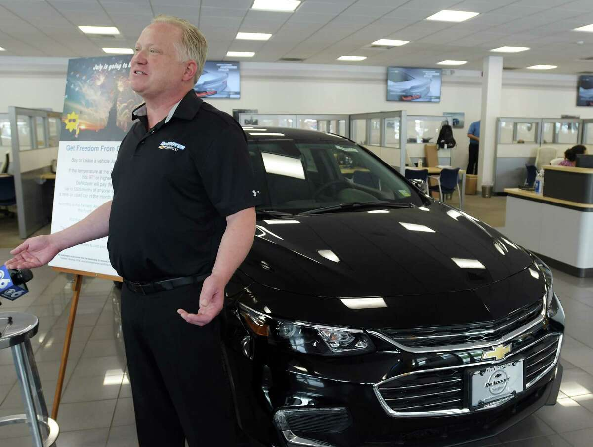Joel DeNooyer, president of DeNooyer Chevrolet, talks to members of the media on Tuesday, July 3, 2018, in Albany, N.Y. DeNooyer ran a promotion in June for those who purchased a new car that month that if the temperature reaches 97 on the Fourth of July then DeNooyer would pay a year's worth of car payments up to $325/month for the customer. (Paul Buckowski/Times Union)