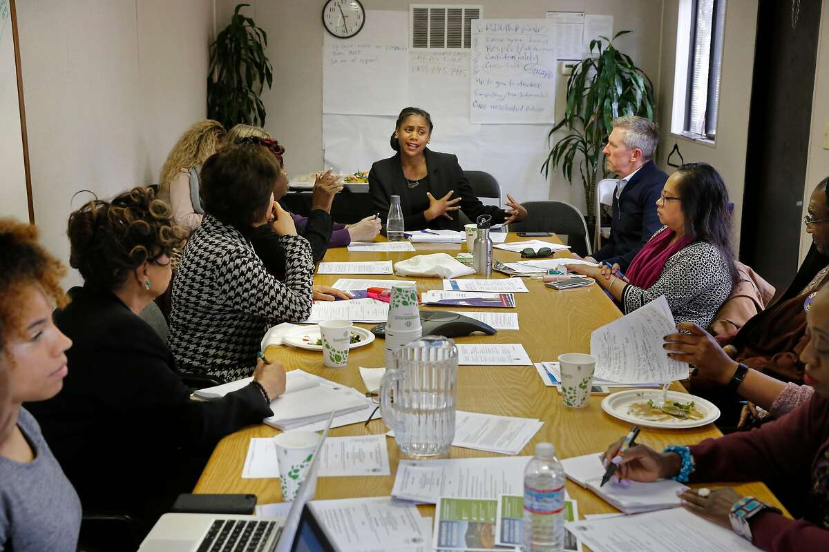 Acting executive director, Shakirah Simley, (center) during a community meeting of the Southeast Community Facility Commission, Facilities and Design Committee, on Mon. March 19, 2018, in San Francisco, Calif. Discussions were primarily on the proposed location of the New Southeast Community Center at 1550 Evans Ave.