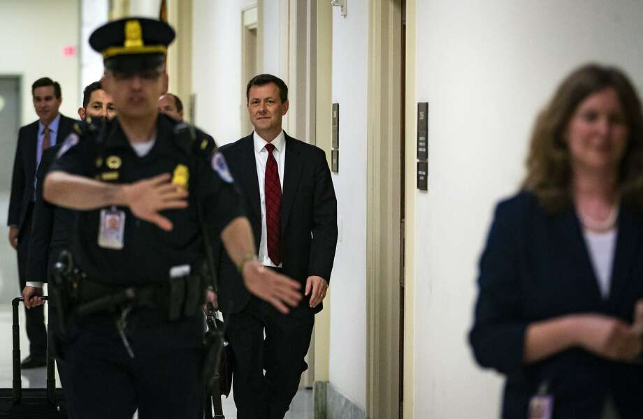 Peter Strzok, an agent at the Federal Bureau of Investigation (FBI), center, leaves following a closed-door interview with the joint House Judiciary & Oversight Committee on Capitol Hill in Washington, D.C., U.S., on Wednesday, June 27, 2018. Strzok, the FBI agent whose anti-Trump text exchanges in 2016 fed Republican allegations of bias in the bureau, said Wednesday that he regrets those messages but denied political favoritism. Photographer: Al Drago/Bloomberg Photo: Al Drago, Bloomberg