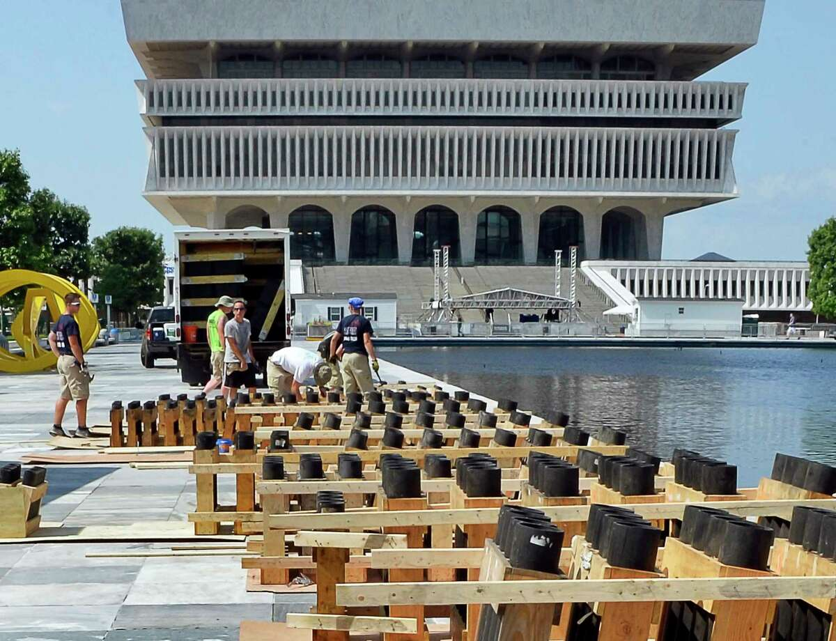 A crew from Santore's World Famous Fireworks of Schaghticoke sets up for the Fourth of July celebration at the Empire State Plaza Tuesday July 3, 2018 in Albany, NY. (John Carl D'Annibale/Times Union)