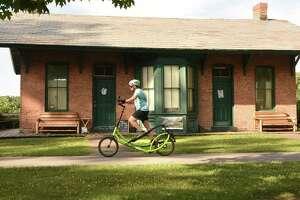 Barb Tomezak of Galway rides her Elliptigo bike on the Mohawk-Hudson Bike-Hike Trail at Lions Park on Tuesday, July  3, 2018 in Niskayuna, N.Y. (Lori Van Buren/Times Union)