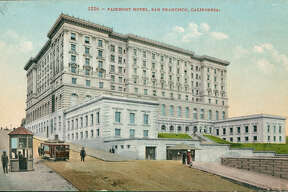 The Fairmont Hotel, a luxury hotel building in the Beaux-Arts style, on Nob Hill, built in 1907, San Francisco, California, 1920.