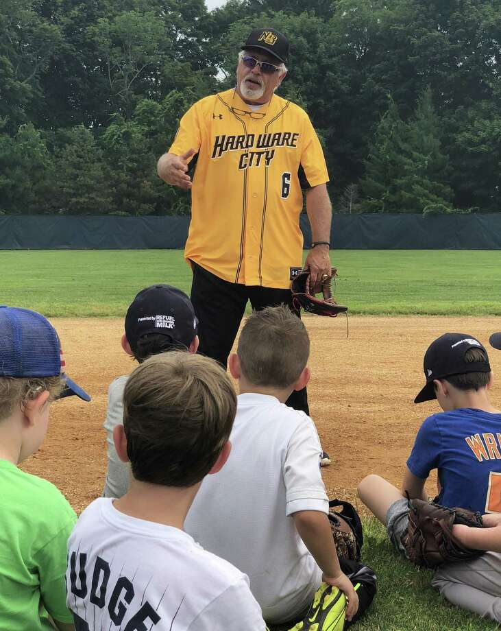 Former New York Mets player Wallly Backman talks with campers at the Baseball World camp in Westport on Tuesday. Photo: Contributed Photo