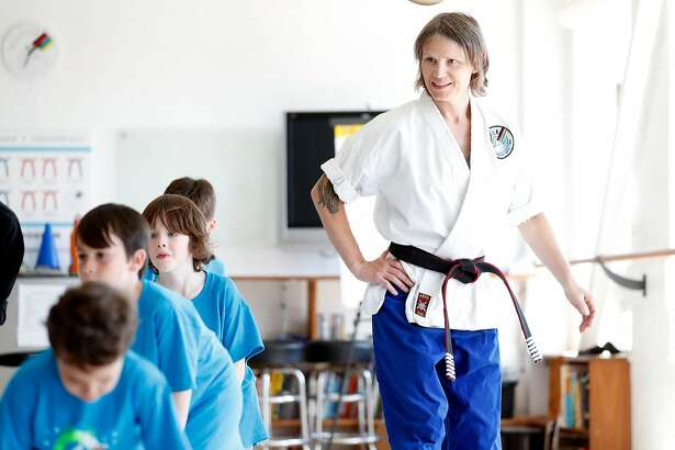 Master Rachael Evans leads the Superhero Stunts & Martial Arts Camp at Quantum Martial Arts in the Mission District of San Francisco, Calif. on Thursday, June 28, 2018.