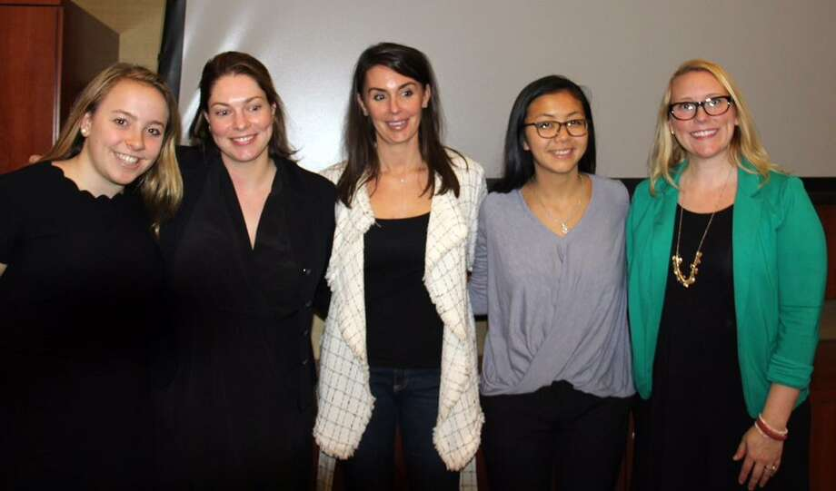 Greenwich High School junior Charlotte Hallisey, left, and GHS graduate Margaret Zhang, second from right, pose with their Pitch Your Peers mentors, Manon DeFelice and Leslie Cafferty, and their team leader, Greenwich High social studies teacher Kathleen Mendez. The two girls won $3,000, the largest amount possible, from Pitch Your Peers, a Greenwich-based philanthropic organization of women that gives grants to high school girls who want to effect change in their community. Photo: Contributed Photo / Contributed / Greenwich Time Contributed