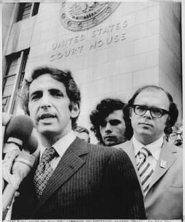 Daniel Ellsberg (left) and Anthony J. Russo address the media outside Federal Building in Los Angeles about case involving Pentagon Papers.   Anthony Russo  AP Photo   Photo was taken 01/16/1973.