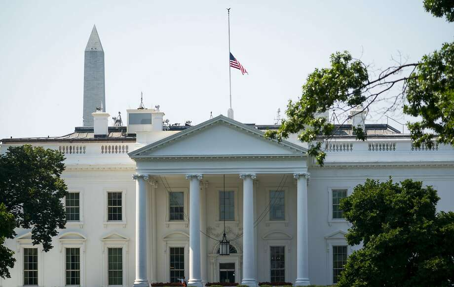 The American flag flies at half-staff to honor victims of last week's Capital Gazette shooting, at the White House in Washington, July 3, 2018. President Donald Trump ordered the measure; earlier, the mayor of Annapolis, Gavin Buckley, said an initial request, submitted through the Maryland congressional delegation, was denied. (Doug Mills/The New York Times) Photo: DOUG MILLS, NYT
