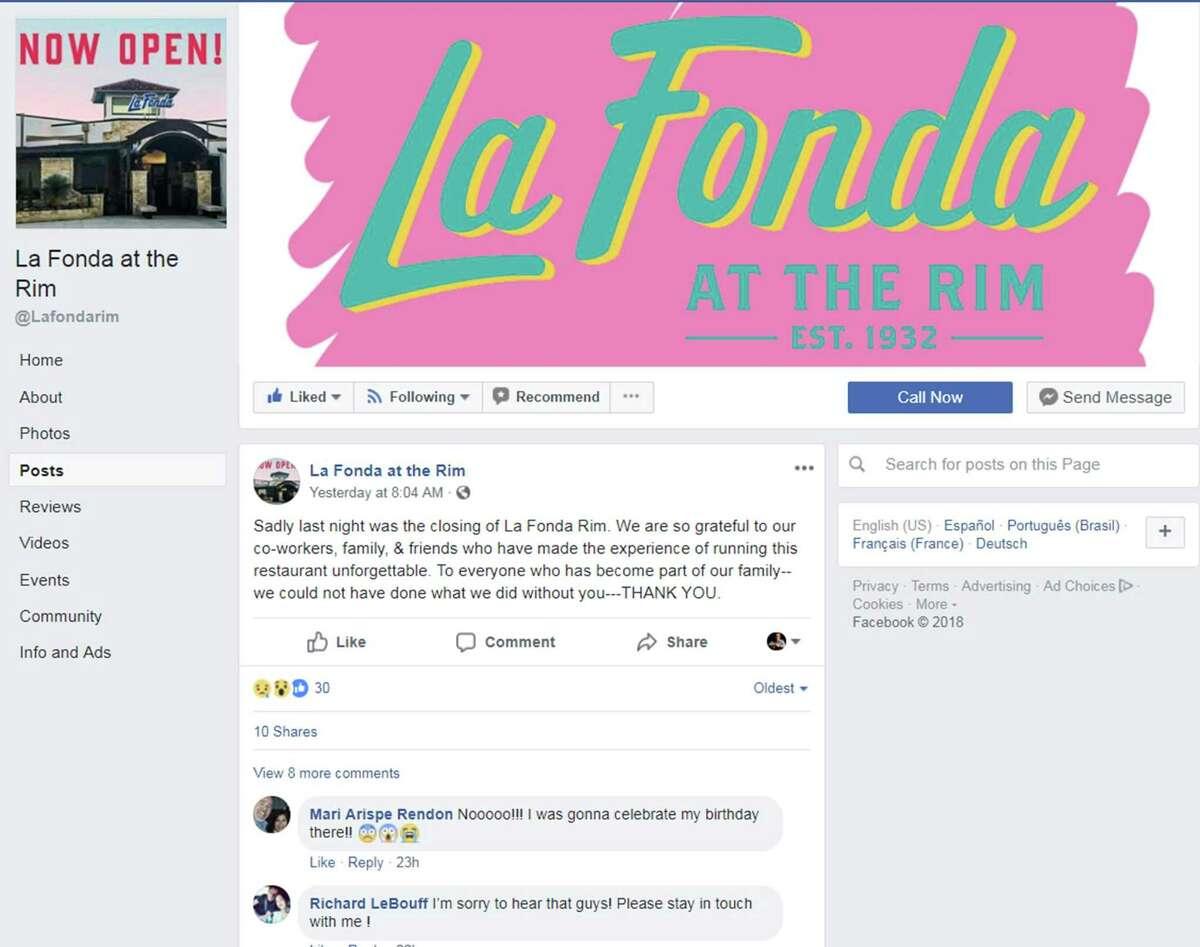 La Fonda at The Rim has closed. The restaurant opened in late 2017.