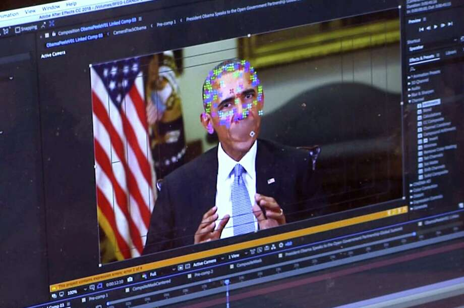 This image made from video of a fake video featuring former President Barack Obama shows elements of facial mapping used in new technology that lets anyone make videos of real people appearing to say things they've never said. There is rising concern that U.S. adversaries will use new technology to make authentic-looking videos to influence political campaigns or jeopardize national security. Photo: /Associated Press / AP