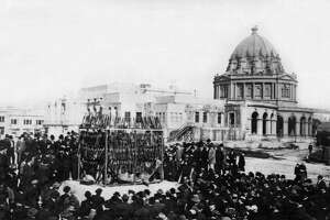 Thousands of dollars worth of opium and opium layouts are about to be destroyed by fire in front of City Hall during the SF crusade against opium usage, San Francisco, California, 1914. The fire was supervisved by Mayor Rolph in the presence of thousands of spectators and hundreds of city officials. (Photo by Underwood Archives/Getty Images)