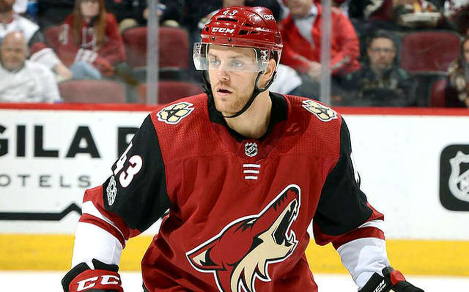 Alton High grad and former Telegraph Prep Player of the Year Dakota Mermis has re-signed with the NHL's Arizona Coyotes. Mermis inked a one-year deal Tuesday. Photo:     Arizona Coyotes