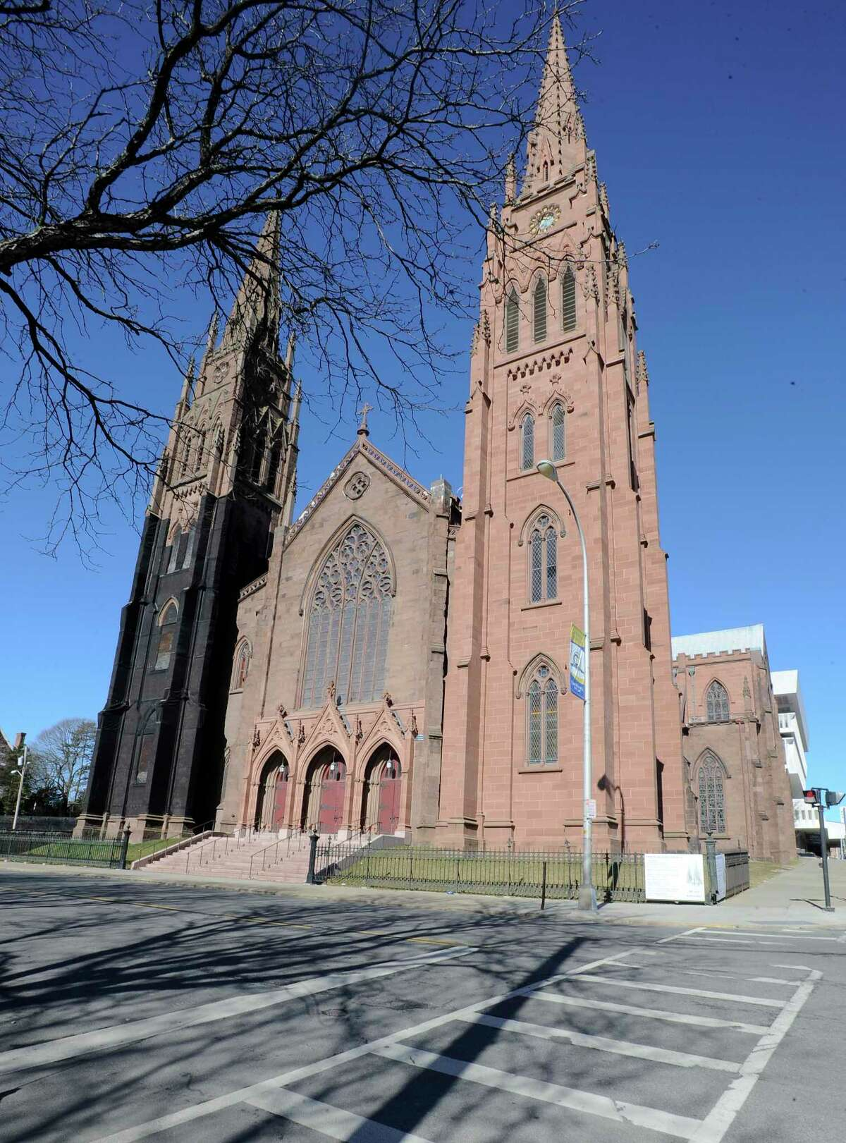 Exterior of Cathedral of the Immaculate Conception church for Easter service on Saturday, March 31, 2018, in Albany, N.Y. (Hans Pennink / Special to the Times Union)