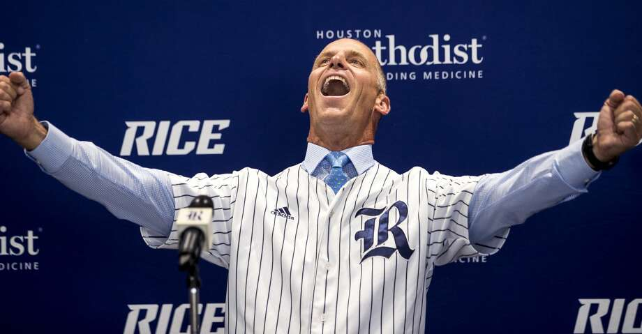 Matt Bragga gestures as he is introduced as Rice baseball coach during a news conference Thursday, June 21, 2018, in Houston. Bragga comes to Rice from Tennessee Tech. (Brett Coomer/Houston Chronicle via AP) Photo: Brett Coomer/Associated Press