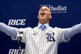 Matt Bragga gestures as he is introduced as Rice baseball coach during a news conference Thursday, June 21, 2018, in Houston. Bragga comes to Rice from Tennessee Tech. (Brett Coomer/Houston Chronicle via AP)