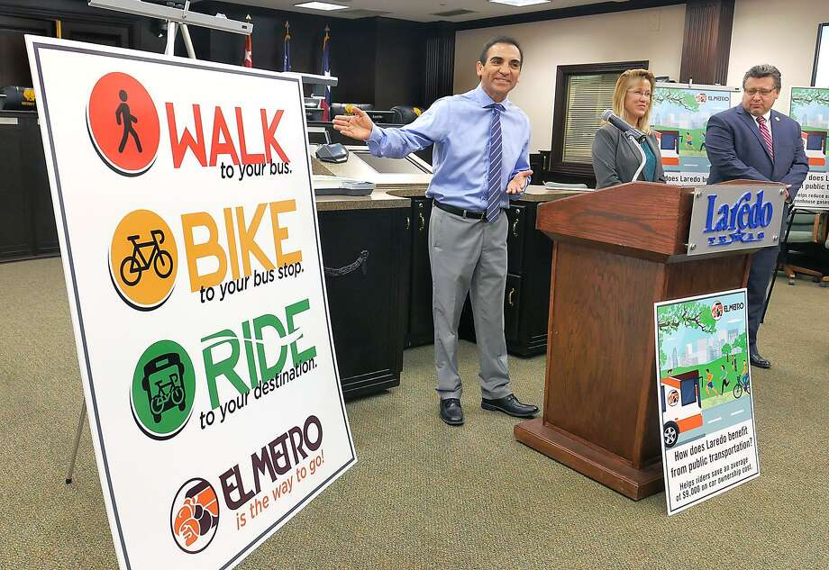 District VIII Councilman Roberto Balli was joined by City Manager Horacio De Leon and El Metro Manager Claudia San Miguel at a news conference Tuesday at City Hall to announce the first-ever Walk, Bike, Ride event promoting El Metro. The event is scheduled for July 10 from 7 to 9 p.m. at the El Metro Station on Farragut Street by Jarvis Plaza. Photo: Cuate Santos /Laredo Morning Times / Laredo Morning Times