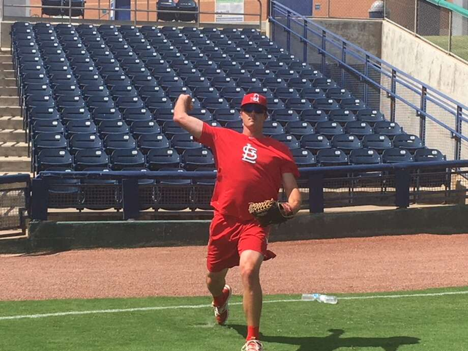 Springfield Cardinals pitcher and former Midland College standout Jason Zgardowski warms up prior to a game against the Midland RockHounds, Tuesday at Security Bank Ballpark. Will Korn/Reporter-Telegram.