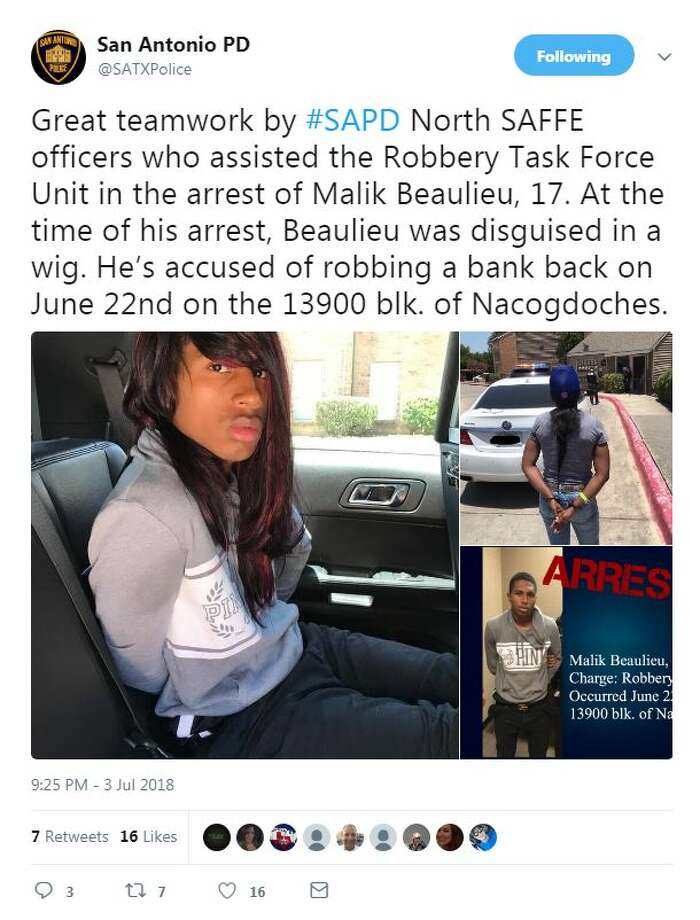 Great teamwork by #SAPD North SAFFE officers who assisted the Robbery Task Force Unit in the arrest of Malik Beaulieu, 17. At the time of his arrest, Beaulieu was disguised in a wig. He's accused of robbing a bank back on June 22nd on the 13900 blk. of Nacogdoches. Photo: Twitter @SATXPolice