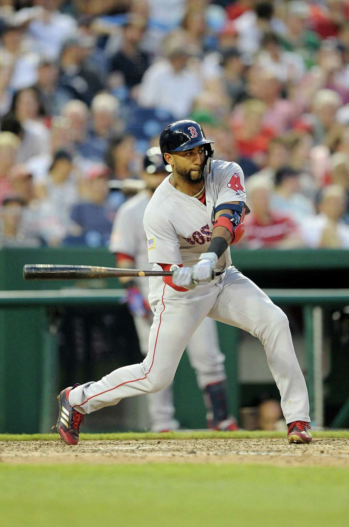 WASHINGTON, DC - JULY 03: Eduardo Nunez #36 of the Boston Red Sox hits a double in the eighth inning against the Washington Nationals at Nationals Park on July 3, 2018 in Washington, DC. (Photo by Greg Fiume/Getty Images)