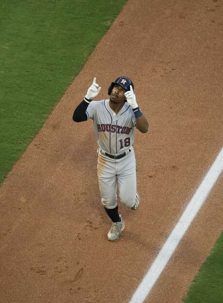 Houston Astros' Tony Kemp (18) points skyward after hitting a two-run home run during the third inning of a baseball game against the Texas Rangers, Tuesday, July 3, 2018, in Arlington, Texas. (AP Photo/Brandon Wade) Photo: Brandon Wade/Associated Press