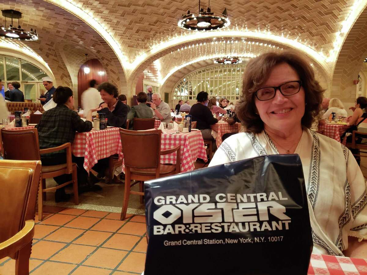 Marsha Whitman in under the vaulted arches of the historic Grand Central Oyster Bar in New York.