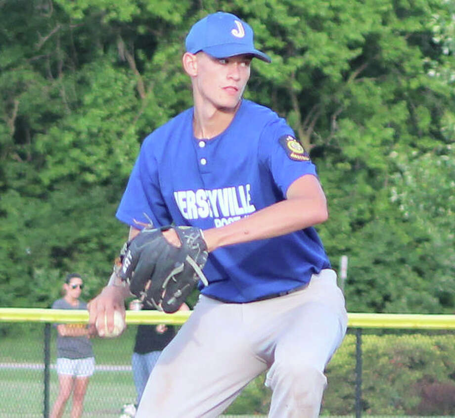 Jerseyville Legion pitcher Tucker Shalley delivers a pitch during a game against Civic Memorial last month at the Bethalto Sports Complex. Photo:       Greg Shashack / The Telegraph
