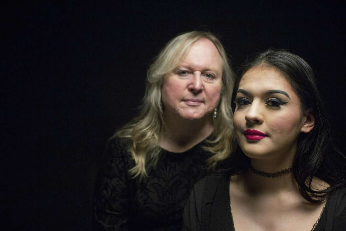 Catizia Farris sits for a portrait with her adoptive mother Lauryn Farris, both of whom are transgender, in the Express-News studio in San Antonio.