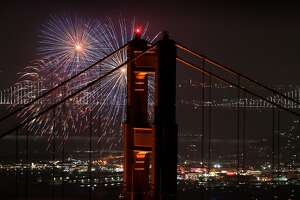Fireworks are launched during a Fourth of July celebration in San Francisco, Calif., on Wednesday, July 4, 2017.