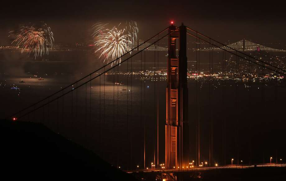 Fourth of July fireworks explode over the San Francisco Bay  Wednesday night. Photo: Carlos Avila Gonzalez / The Chronicle