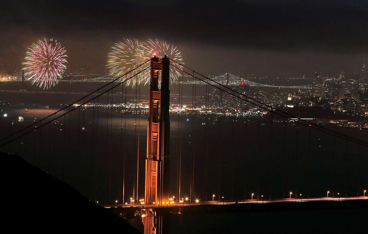 Fireworks explode during a Fourth of July celebration in San Francisco, Calif., on Wednesday, July 4, 2018.