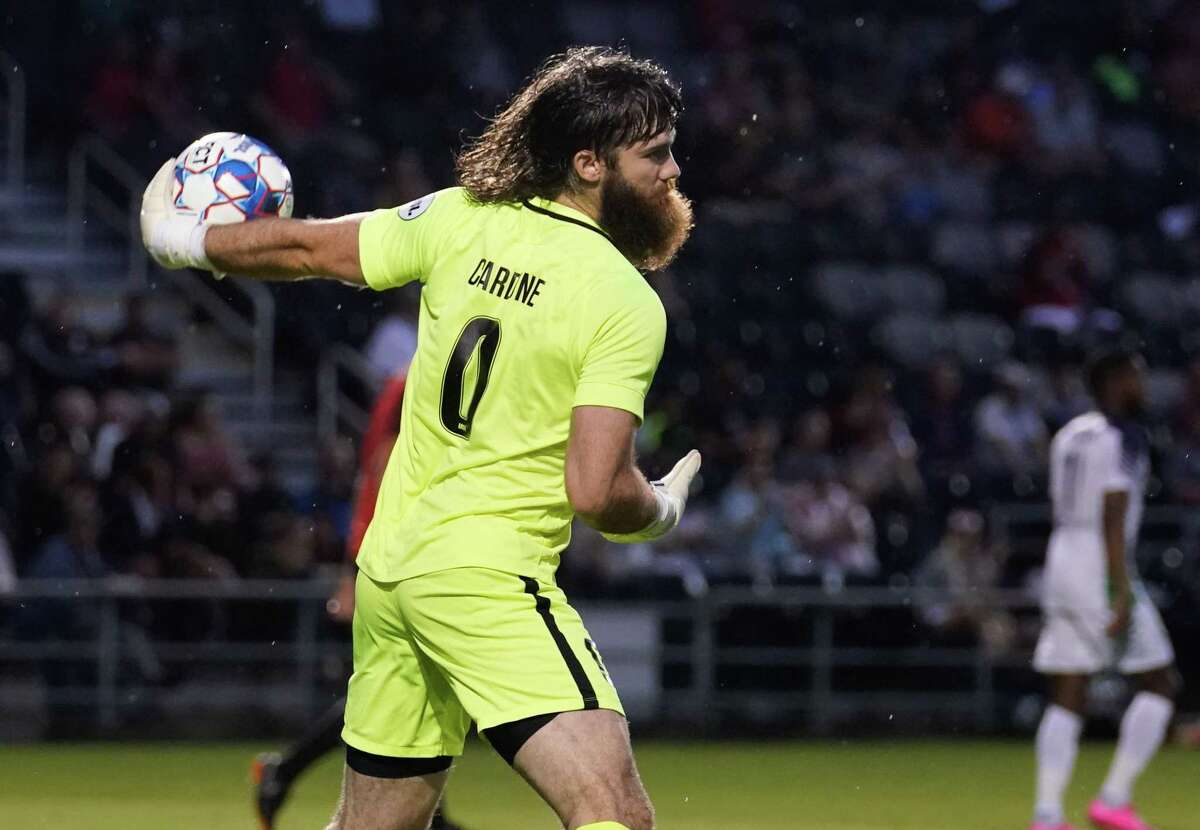 San Antonio FC goalkeeper Matt Cardone makes an outlet pass during the team's 1-1 draw with Oklahoma City Energy FC at Toyota Field.