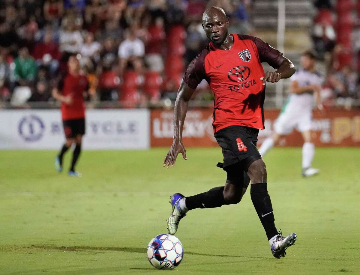 San Antonio FC defender Cyprian Hedrick collects a ball during the first half of Wednesday's match vs. Oklahoma City Energy FC at Toyota Field.