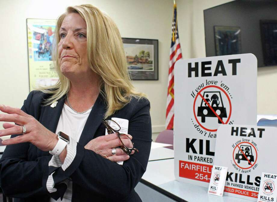 State Rep. Brenda Kupchick joined with other town officials to remind residents not to leave children and pets in a hot car. Fairfield,CT. 7/2/18 Photo: Genevieve Reilly / Hearst Connecticut Media / Fairfield Citizen