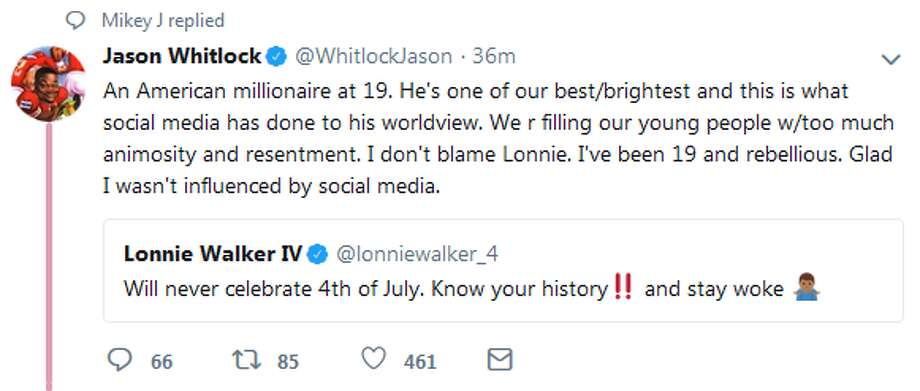 "@WhitlockJason: ""Probably not the best take from the Spurs draft pick in the state that  has the second largest group of active and reserve members of the  military in the United States."" Photo: Twitter Screengrabs"