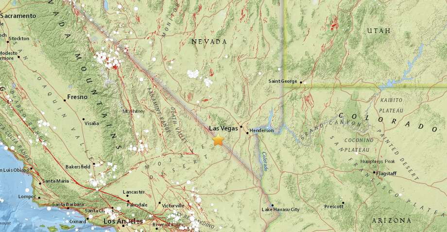 Magnitude 4.5 earthquake 40 miles southwest of Las Vegas, Nevada, hit at 7:17 a.m. local time at a depth of 3.7 miles. Photo: USGS