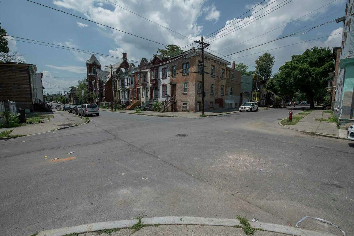 The intersection of Lexington and First Street looking west from First, the area where a multiple shooting occurred early Thursday July 5, 2018 in Albany, N.Y. (Skip Dickstein/Times Union)