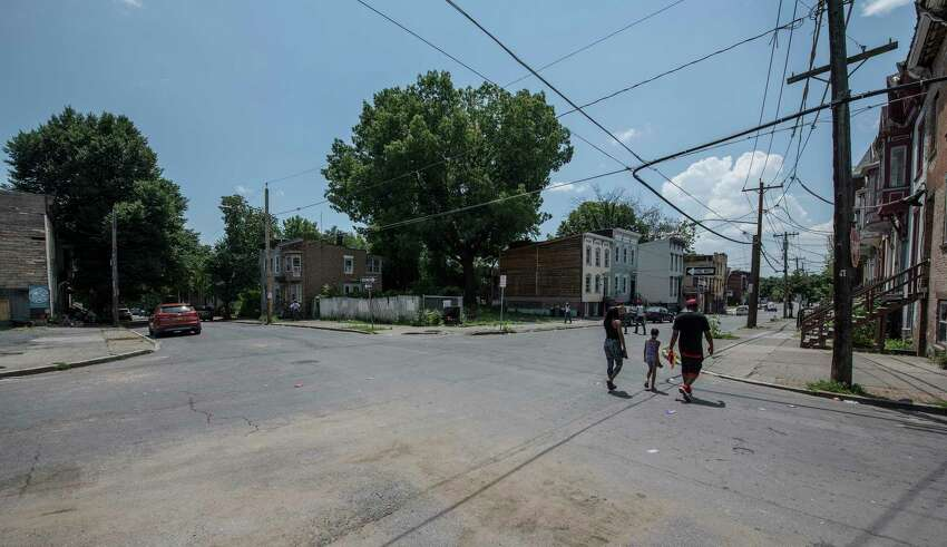 The intersection of Lexington and First Street looking south from Lexington, the area where a multiple shooting occurred early Thursday July 5, 2018 in Albany, N.Y. (Skip Dickstein/Times Union)