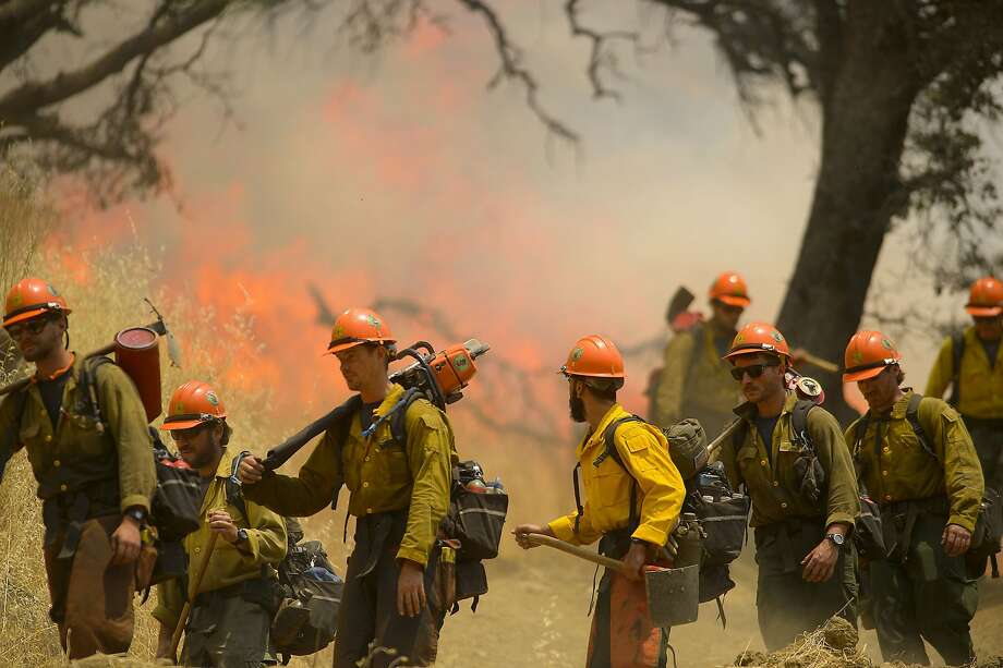 Crews from Mendocino battle the County Fire near Lake Berryessa. Photo: Randall Benton / Sacramento Bee