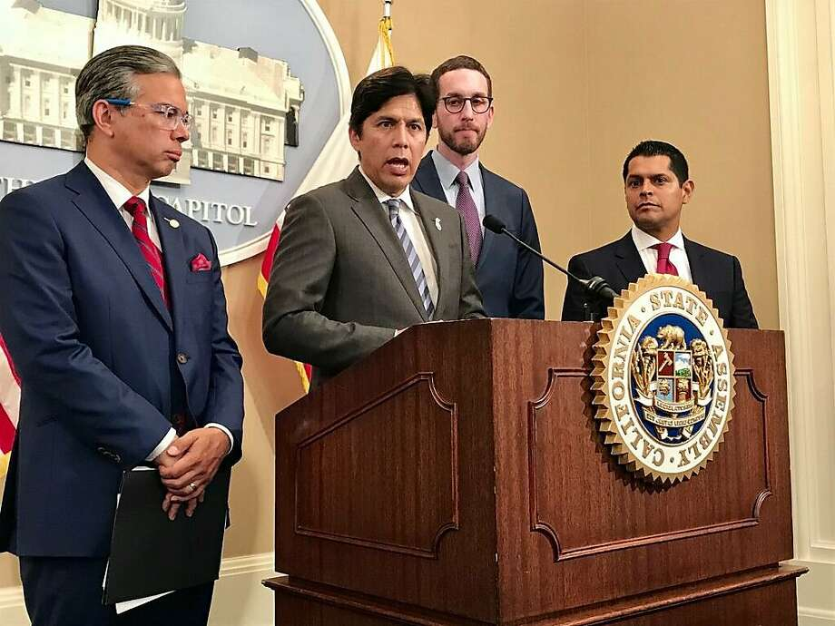 California Assemblyman Rob Bonta, D-Alameda (left) joins state Senators Kevin De L�on, D-Los Angeles, and Scott Wiener, D-San Francisco, and Assemblyman Miguel Santiago, D-Los Angeles, to announce updates to a net neutrality bill working its way through the state Legislature on Thursday, July 5, 2018 in Sacramento, Calif. Photo: Melody Gutierrez / San Francisco Chronicle