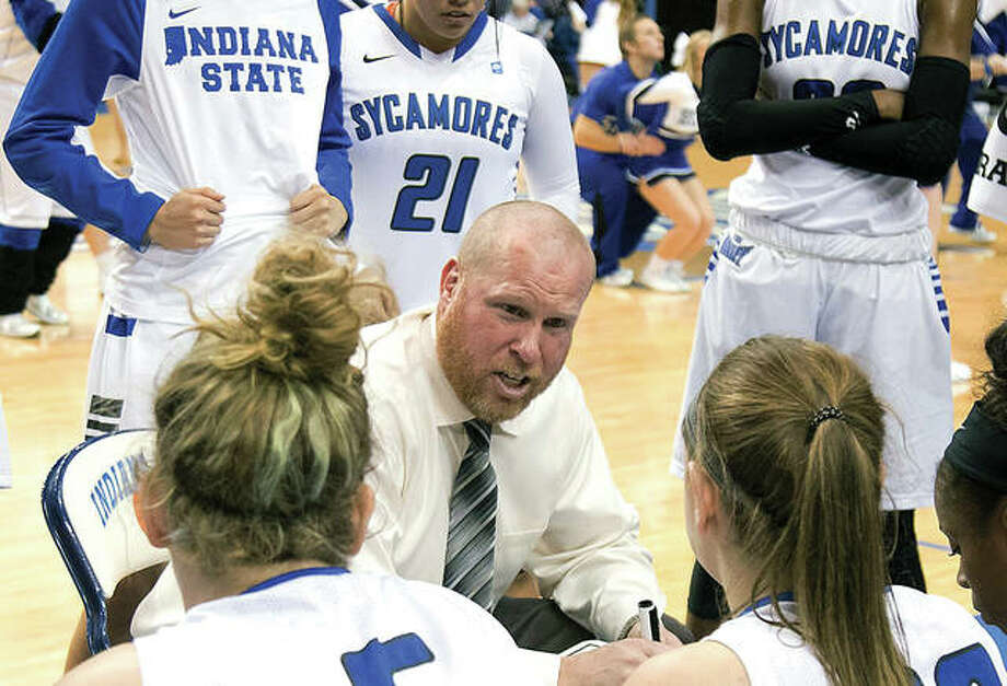 Former Indiana State University hed coach Joey wells has joined the SIUE women's team as an assistant coach. Wells resigned from ISU in January. He is shown above talking to his team during a 2017 Sycamores game. Photo:       High Post Hoops Photo