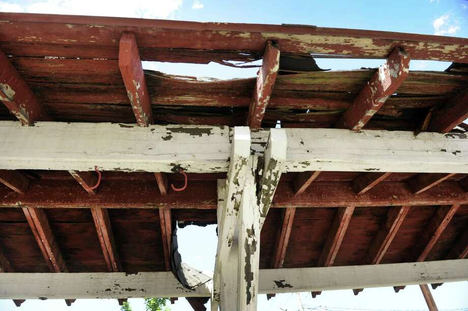 Bethel hopes to repair the canopy at the old train station, which is now home to Broken Symmetry Gastro Brewery.  Photo Thursday, June 21, 2018. Photo: Carol Kaliff / Hearst Connecticut Media / The News-Times