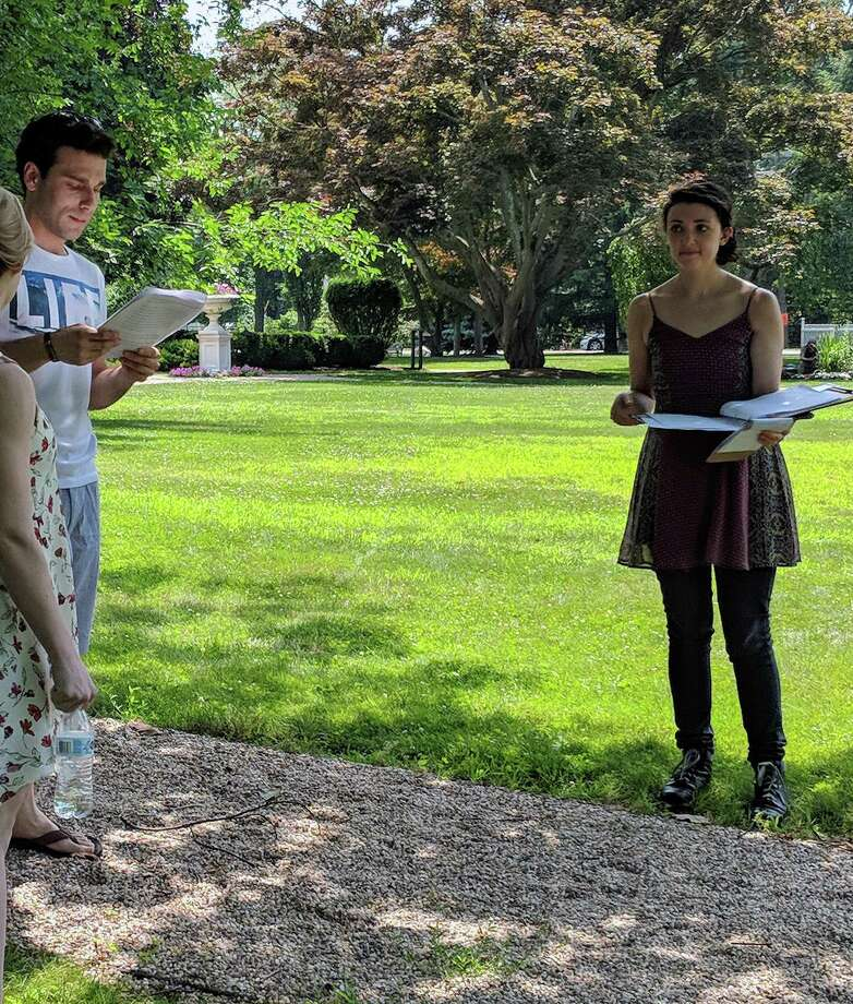 "Allison Benko, right, goes over the ""Rebels vs. Tories"" script during a rehearsal Sunday. Benko wrote the interactive script and is directing the performance this weekend at the Fairfield Museum and History Center. Photo: Contributed Photo / Fairfield Citizen"