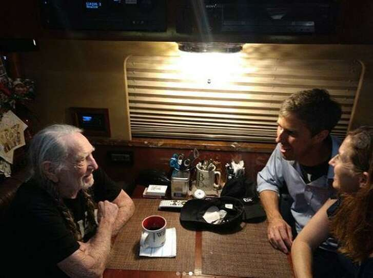 U.S. Senate candidate Beto O'Rourke was invited on stage by country music legend Willie Nelson to play guitar in Austin during Nelson's annual 4th of July Picnic. (Photo via Beto O'Rourke's Instagram)
