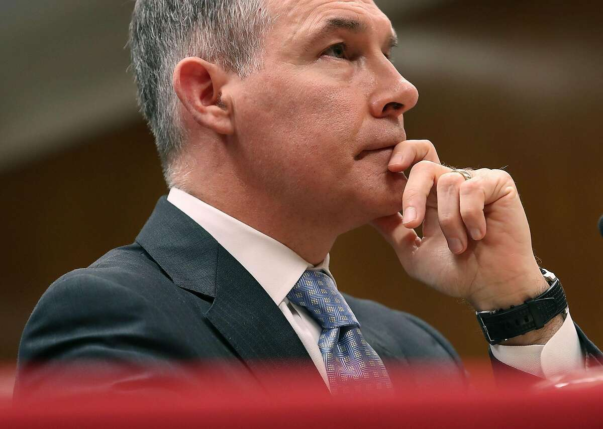 FILE - JULY 5, 2018: President Donald Trump has announced that Environmental Protection Agency chief Scott Pruitt has resigned July 5, 2018. WASHINGTON, DC - MAY 16: EPA Administrator Scott Pruitt, listens to a question during a Senate Appropriations Subcommittee hearing on Capitol Hill, May 16, 2018 in Washington, DC. The Subcommittee is hearing testimony on the proposed budget estimates for FY2019 for the Environmental Protection Agency. (Photo by Mark Wilson/Getty Images)