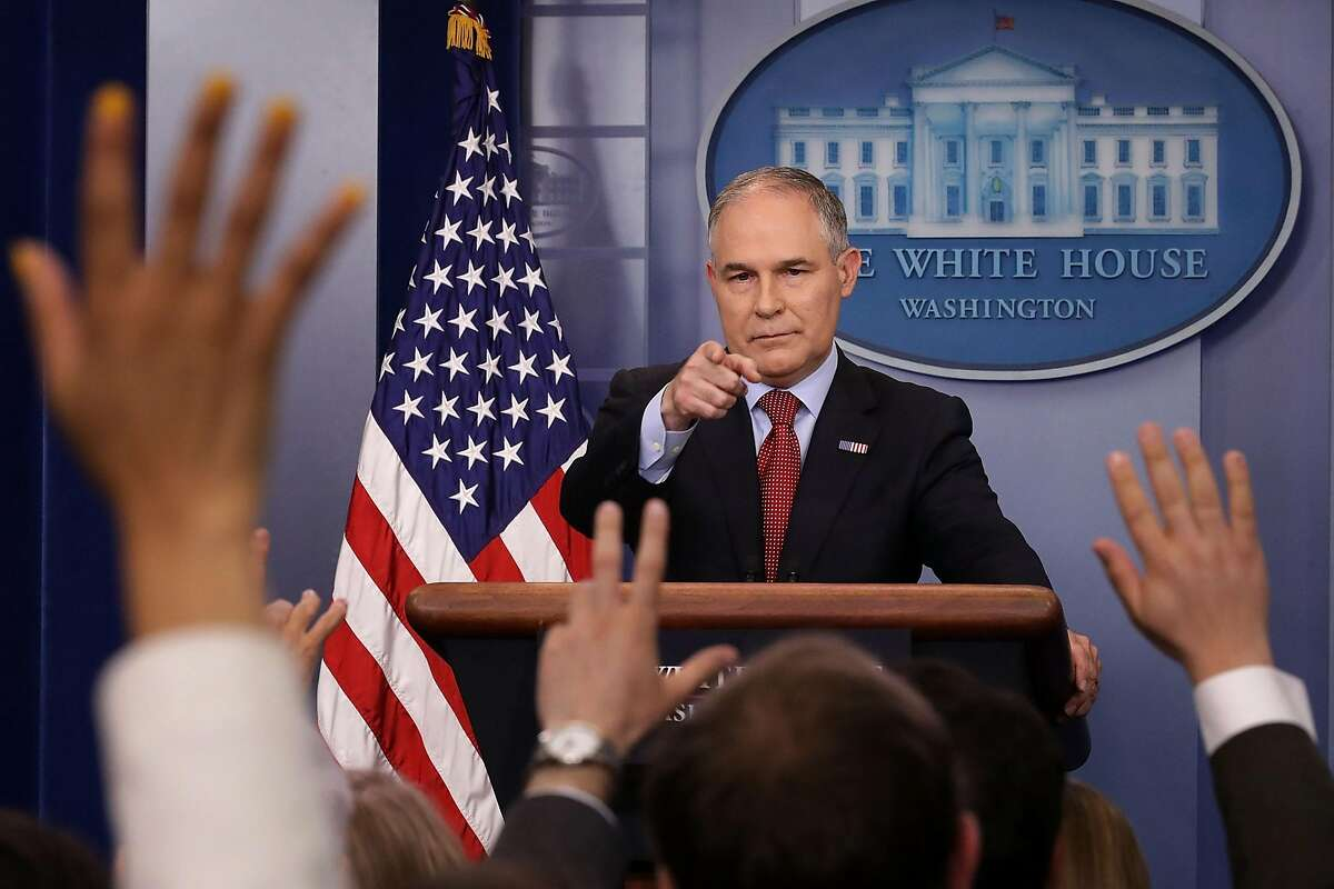 FILE - JULY 5, 2018: President Donald Trump has announced that Environmental Protection Agency chief Scott Pruitt has resigned July 5, 2018. WASHINGTON, DC - JUNE 02: Environmental Protection Agency Administrator Scott Pruitt answers reporters' questions during a briefing at the White House June 2, 2017 in Washington, DC. Pruitt faced a barrage of questions related to President Donald Trump's decision to withdraw the United States from the Paris climate agreement. (Photo by Chip Somodevilla/Getty Images)