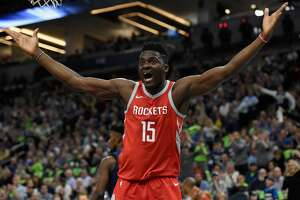 MINNEAPOLIS, MN - APRIL 23: Clint Capela #15 of the Houston Rockets reacts to a call during the first quarter in Game Four of Round One of the 2018 NBA Playoffs against the Minnesota Timberwolves on April 23, 2018 at the Target Center in Minneapolis, Minnesota. NOTE TO USER: User expressly acknowledges and agrees that, by downloading and or using this Photograph, user is consenting to the terms and conditions of the Getty Images License Agreement. (Photo by Hannah Foslien/Getty Images)