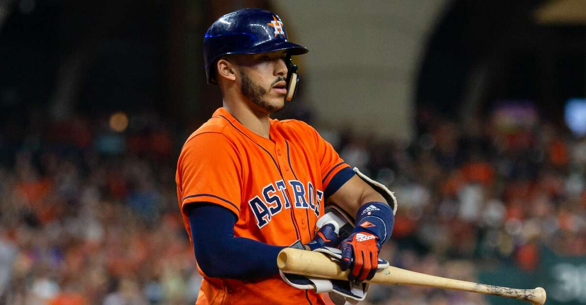 HOUSTON, TX - JUNE 22: Houston Astros shortstop Carlos Correa (1) takes a walk in the sixth inning during an MLB baseball game between the Houston Astros and the Kansas City Royals, Friday, June 22, 2018 in Houston, Texas. Kansas City Royals defeated Houston Astros 1-0. (Photo by: Juan DeLeon/Icon Sportswire via Getty Images)